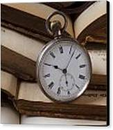 Pocket Watch On Pile Of Books Canvas Print by Garry Gay