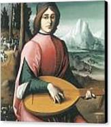 Portrait Of A Young Man With A Lute Canvas Print by Bachiacca
