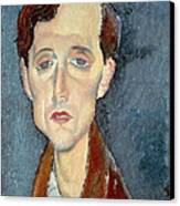 Portrait Of Franz Hellens Canvas Print by Modigliani