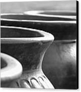Pots In Black And White Canvas Print by Kathy Clark