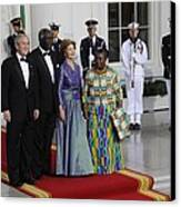 President And Laura Bush Welcome Ghanas Canvas Print by Everett