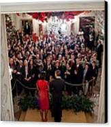 President And Michelle Obama Address Canvas Print by Everett