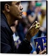 President Barack Obama Eats Popcorn Canvas Print by Everett
