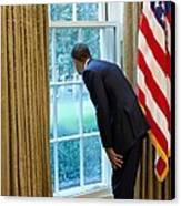 President Barack Obama Looks Canvas Print by Everett