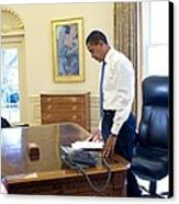 President Barack Obama On His First Canvas Print by Everett