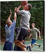 President Barack Obama Plays Basketball Canvas Print by Everett