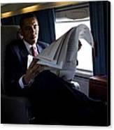 President Barack Obama Reading Canvas Print by Everett