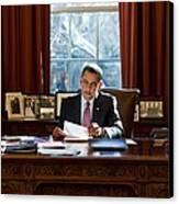President Barack Obama Reviews Canvas Print by Everett