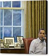 President Barack Obama Talks Canvas Print by Everett