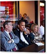 President Barack Obama Watches The 2009 Canvas Print by Everett