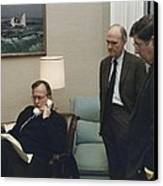 President George Bush In A Telephone Canvas Print by Everett
