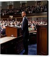 President Obama Is Applauded Canvas Print by Everett