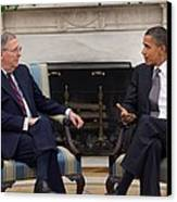 President Obama Meets With Senate Canvas Print by Everett