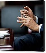President Obamas Hands Gesture Canvas Print by Everett