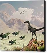Protoceratops Stampede In Fear Canvas Print by Mark Stevenson