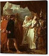 Queen Philippa Interceding For The Lives Of The Burghers Of Calais Canvas Print by Benjamin West