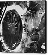 Railroad Worker Sweating A Tire Canvas Print by Everett