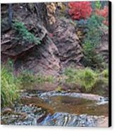 Rainbow Of The Season And River Over Rocks Canvas Print by Heather Kirk