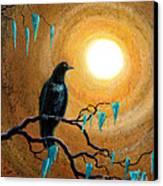 Raven In Dark Autumn Canvas Print by Laura Iverson