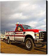 Red And White Harbor Patrol Vehicle Canvas Print by David Buffington