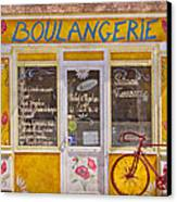 Red Bike At The Boulangerie Canvas Print by Debra and Dave Vanderlaan
