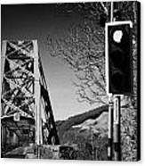 Red Light Traffic Control At The Single Track Connel Bridge On The A828 Coastal Route Road Over Loch Canvas Print by Joe Fox
