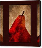 Red Pear Triptych Canvas Print by Carol Leigh