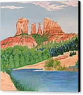 Red Rock Crossing Canvas Print by Aimee Mouw