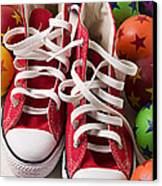 Red Tennis Shoes And Balls Canvas Print by Garry Gay