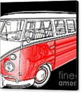 Red Volkswagen Canvas Print by Cheryl Young