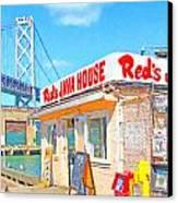 Reds Java House And The Bay Bridge At San Francisco Embarcadero Canvas Print by Wingsdomain Art and Photography