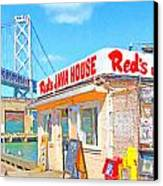 Reds Java House And The Bay Bridge At San Francisco Embarcadero Canvas Print by Wingsdomain Art and Photography