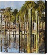 Reflections At Fort Pierce Canvas Print by Trish Tritz