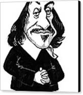 Rene Descartes, Caricature Canvas Print by Gary Brown
