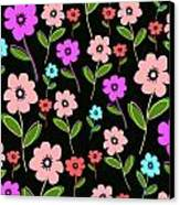 Retro Florals Canvas Print by Louisa Knight