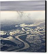 River Running Through A Flooded Countryside Canvas Print by Jeremy Woodhouse