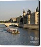 River Seine And Conciergerie. Paris Canvas Print by Bernard Jaubert