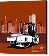 Road Roller  Retro  Canvas Print by Aloysius Patrimonio