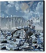 Robots Gathering Rich Mineral Deposits Canvas Print by Mark Stevenson