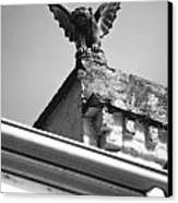Rooftop Gargoyle Statue Above French Quarter New Orleans Black And White Diffuse Glow Digital Art Canvas Print by Shawn O'Brien