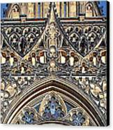 Rose Window - Exterior Of St Vitus Cathedral Prague Castle Canvas Print by Christine Till