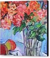 Roses And Peaches Canvas Print by Carol Mangano