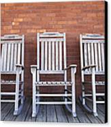 Row Of Rocking Chairs Canvas Print by Skip Nall