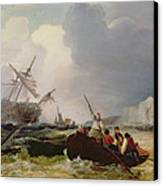 Rowing Boat Going To The Aid Of A Man-o'-war In A Storm Canvas Print by George Chambers