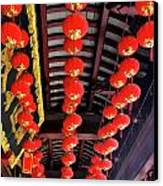 Rows Of Red Chinese Paper Lanterns - Shanghai China Canvas Print by Christine Till