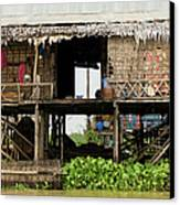 Rural Fishermen Houses In Cambodia Canvas Print by Artur Bogacki