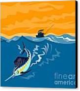 Sailfish Fish Jumping Retro Canvas Print by Aloysius Patrimonio