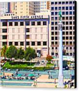 San Francisco - Union Square - 5d17938 - Square - Painterly Canvas Print by Wingsdomain Art and Photography