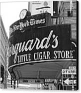 San Francisco Marquard's Little Cigar Store Powell And O'farrell Streets - 5d17954 - Black And White Canvas Print by Wingsdomain Art and Photography