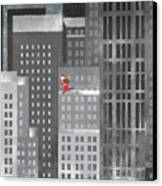Santa Clause Running On A Skyscraper Canvas Print by Jutta Kuss